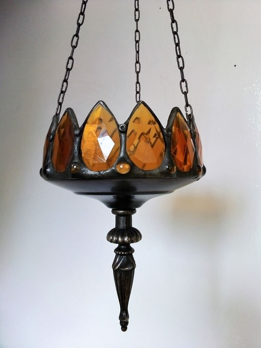 Dreamtime: Ceiling hanging incense diffuser (odour diffuser) or candle holder in amber glass, facet cut - Art Nouveau - patinated bronze look with amber glass