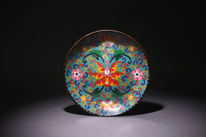 Plate - Cloisonne enamel - China - Second half 20th century