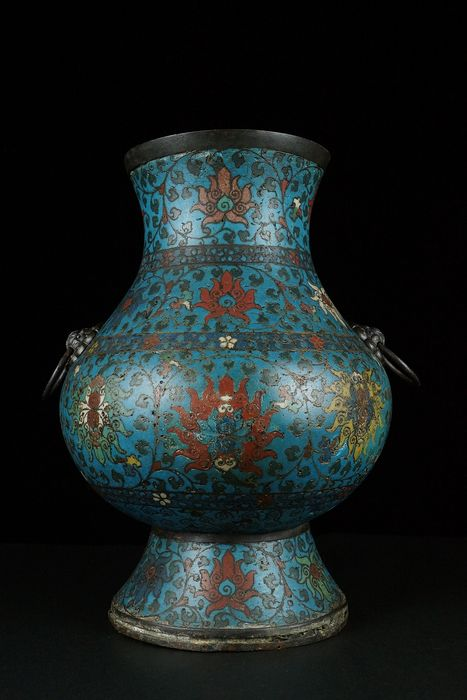 Vase - Cloisonne enamel - Lotus - Large - China - Ming Dynasty (1368-1644)