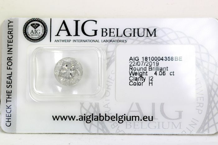 Diamant - 4.06 ct - Brillant - H - * NO RESERVE PRICE *