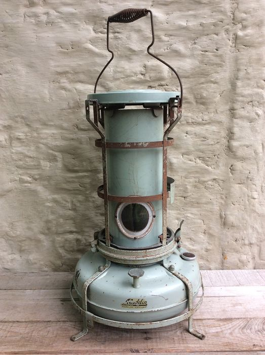 ALLADIN - Bleu Flame Kerosine Heater nc - nice rare English heater (1) - painted mint green metal