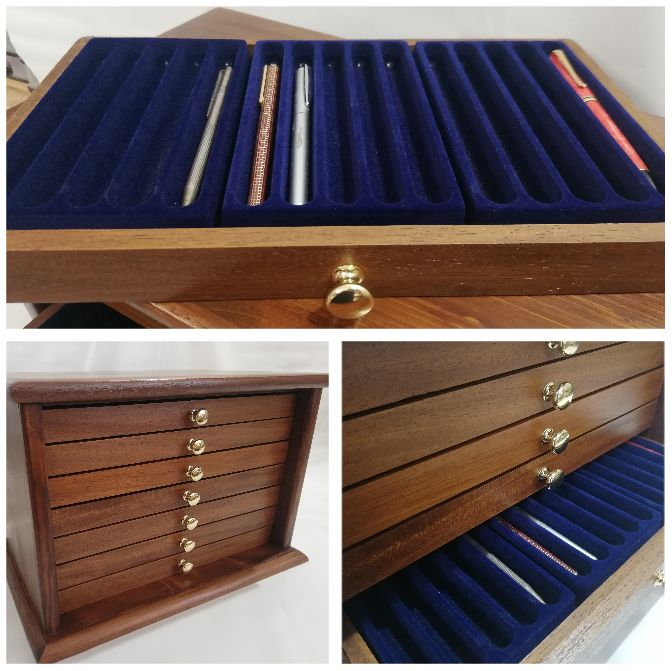 Coins&More - Real wood cabinet for 105 collectible pens - Made by hand