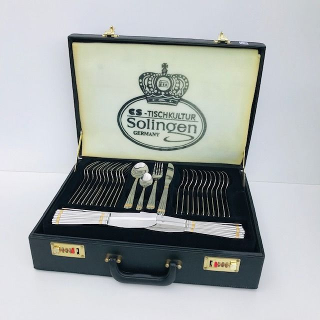 70-piece Solingen cutlery case - Gold plated