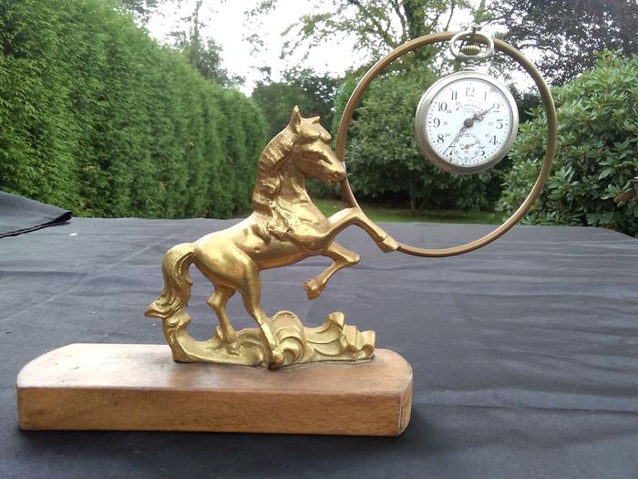 Horse gusset watch holder - Brass, Bronze