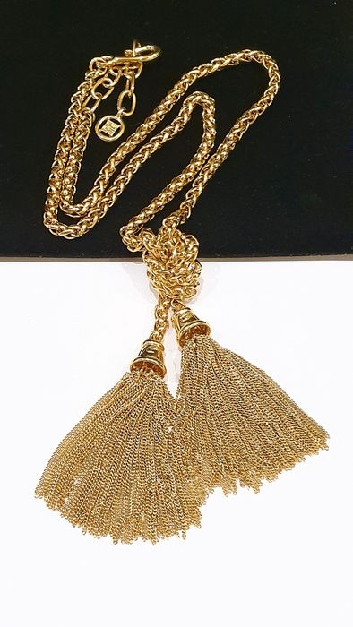Rare GIVENCHY 18kt gold plated Tassel pendant Necklace