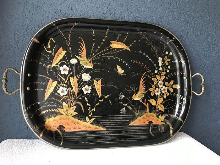 Tray with Chinoiserie and silver-plated handles - Silverplate, Metal