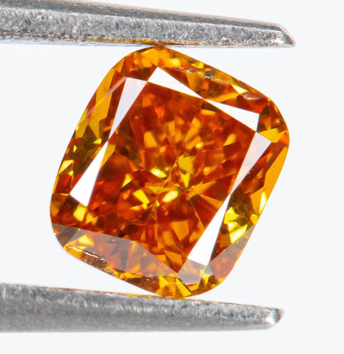 Diamante - 0.27 ct - Fantasía natural VIVID naranja-amarillo - SI1  *NO RESERVE*