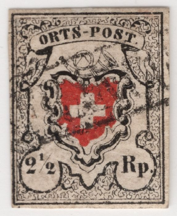 Zwitserland 1850/1854 - Local post without cross frame; with Basel franking; SBPV certificate - Zumstein/SBK Nr. 13II; Michel 5II
