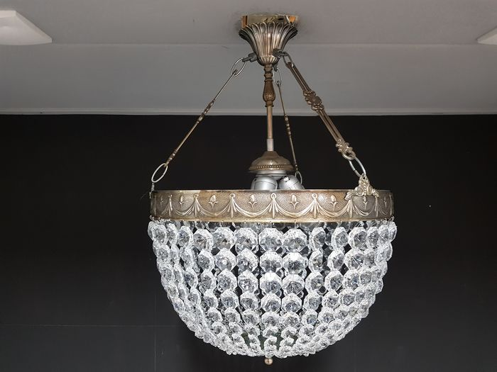 Pocket chandelier with cut glass crystals - Brass