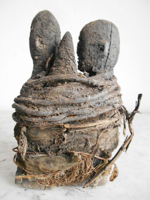 Old Fetish couple FON tied 20cm - Wood - Benin