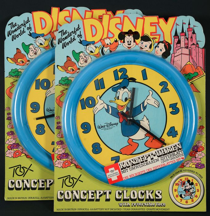 Two Wall Clocks in unopened blister packs  - Donald & Mickey - 1984