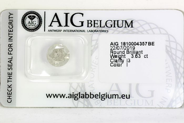 Diamant - 3.63 ct - Brillant - I - * NO RESERVE PRICE *
