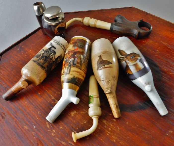 hand-painted porcelain pipe heads and accessories - Porcelain