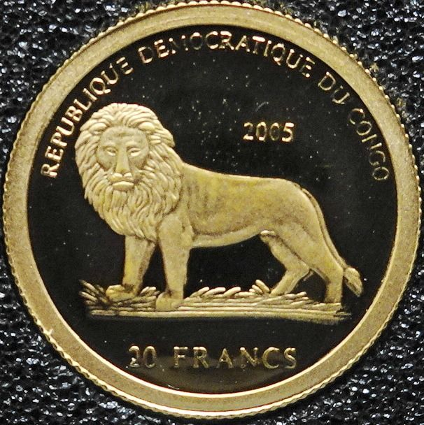 Congo Freestate - 20 Francs  2005 'Lion' - 1/25 ounce  - Gold