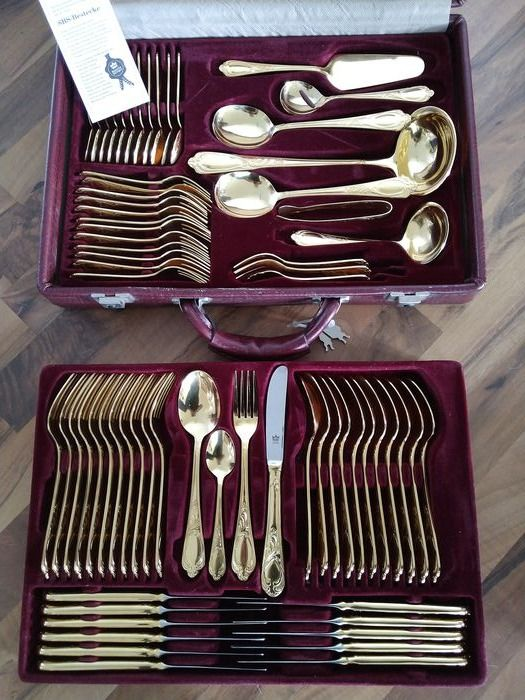 SBS SOLINGEN - Modell Wien - 70-piece luxury cutlery for 12 people - 23/24 carat gold plated - unused - original price approx. 1800 € - with certificate