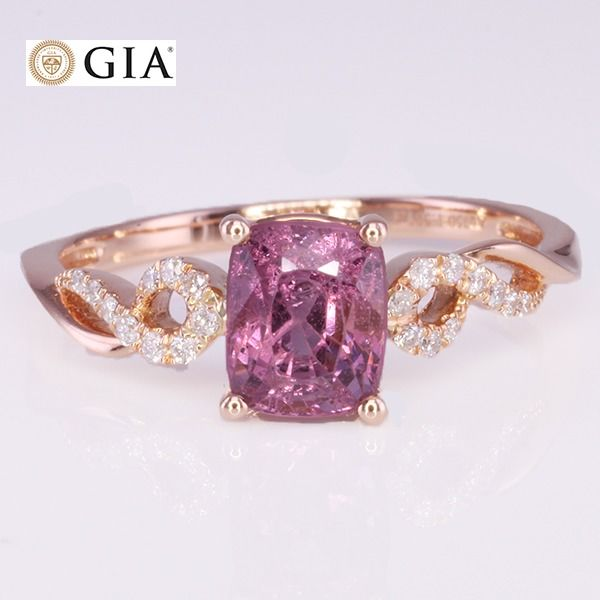 18 kt Roségold - Ring GIA-zertifizierter NO Heat Spinell - VS Diamonds - Keine Reserve