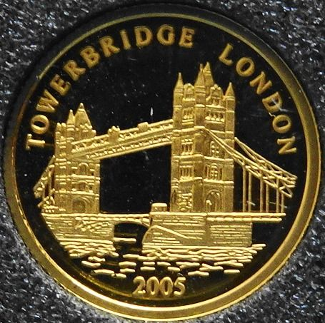 Togo - 1500 Francs  2005 'Tower Bridge' - 1/25 ounce  - Gold