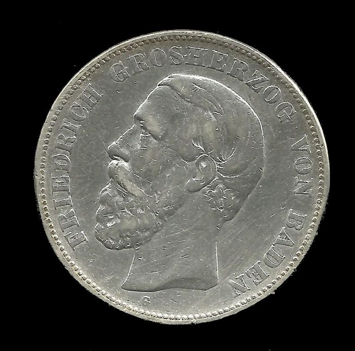 Germany - Baden - 5 Mark 1875 G  Friedrich I  - Silver