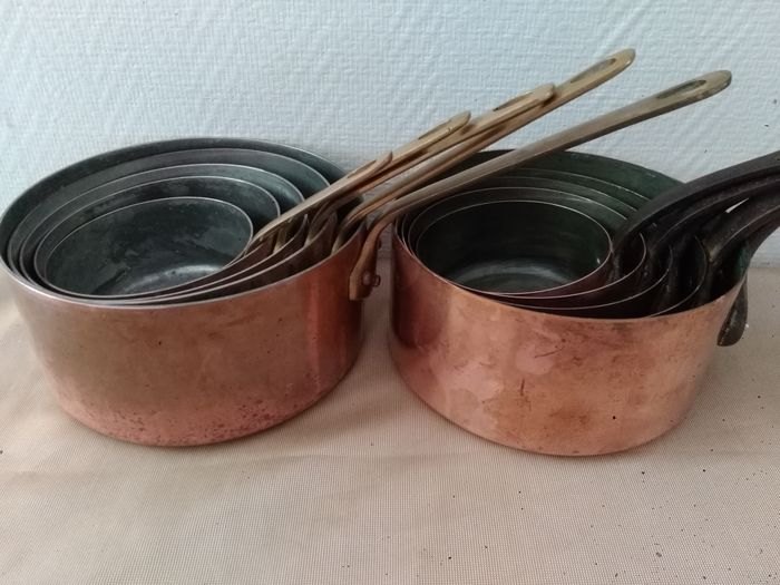 French - Made in France - Saucepans (10) - Art Nouveau - Steel, Copper, Brass