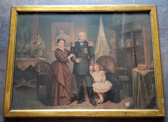 Signed Herman ten Kate (1822-1891) - Painting King Willem the third Queen Emma and princess Wilhelmina (1) - Painting - Press painting