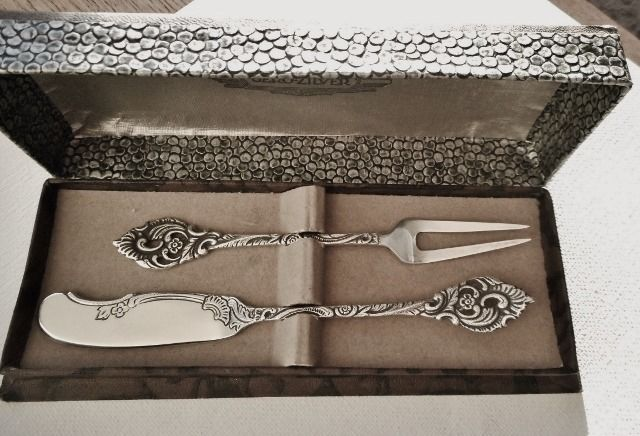 Georg Nilsson - Gero 637 - Silver Plated Breakfast Bite Set - Compotelepel - Pastry Forks - Silverplate
