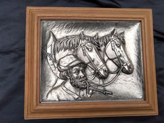 Framing with horses. Very decorative - Silver plated
