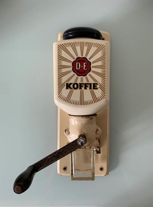 Original Douwe Egberts - Coffee grinder - wall model - Ceramic, Glass, Iron (cast/wrought), Wood