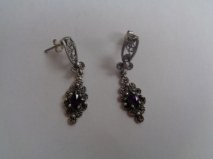 Silver - Earrings Amethyst