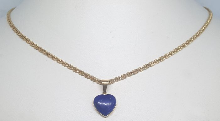18 kt. Yellow gold - Necklace with pendant Lapis lazuli