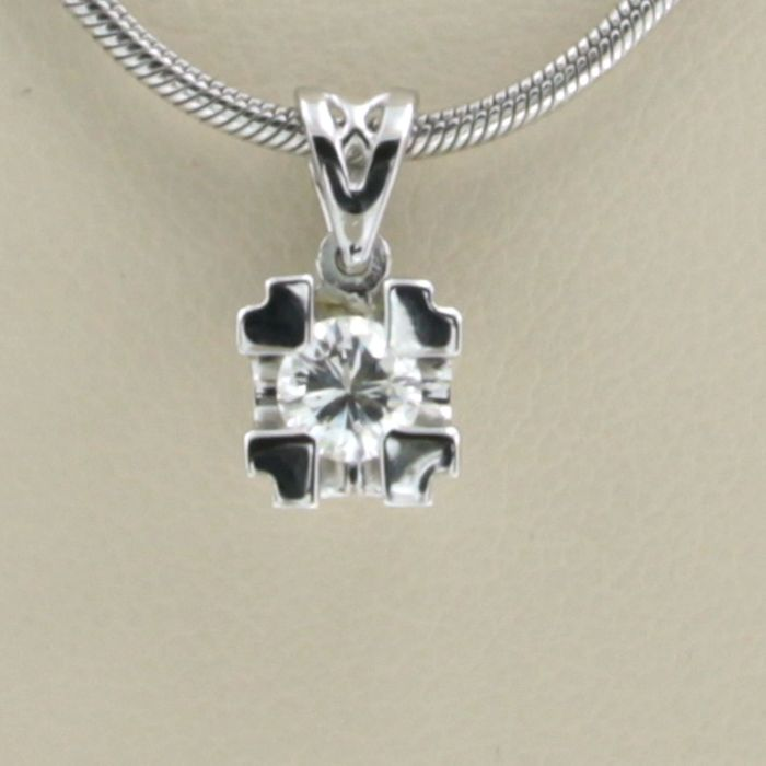 14 kt. White gold - Necklace with pendant - 0.22 ct Diamond