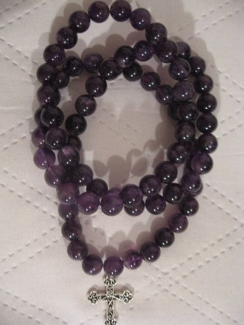 Necklace with cross - Amethyst