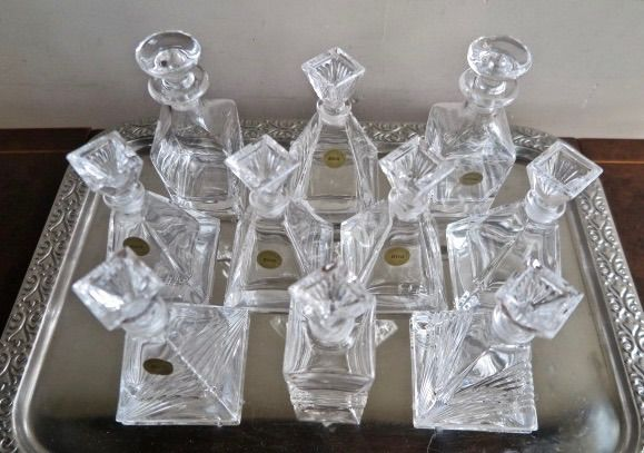 Royal Cristal Rock  (RCR) - Collection of Italian perfume bottles with bell jar (10) - Riva, Bari, Verona