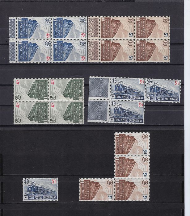 France 1943/1944 - Nice lot of parcel post stamps in blocks of 4 copies - Yvert 208, 209, 210, 212, 215