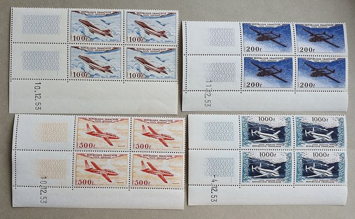 France 1954 - Airmail, 4 blocks of 4 with Dates,  Rarity, MNH, Roumet certificat - Yvert 30/33