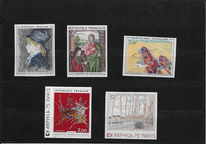 France 1968/1974 - 5 Imperforated stamps. Artworks - Yvert 1570a, 1732a, 1733a, 1813a y 1814a