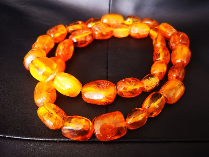 Royal Baltic Amber Necklace (natural cognac ambers olives) Ámbar - Collar Piedras de ámbar báltico