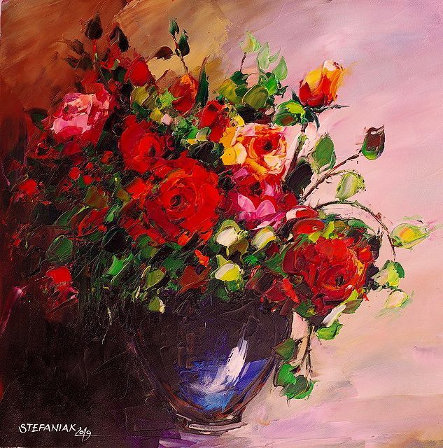 Małgorzata Stefaniak - Roses in the vase