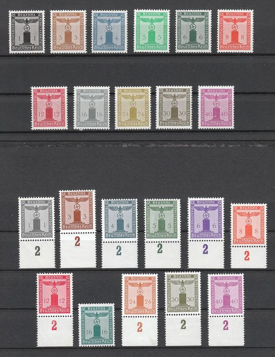 German Empire 1938/1942 - Official stamps with eagle on pedestal - both sets (with and without watermark), each completely MNH - Michel D144-154 + D155-165