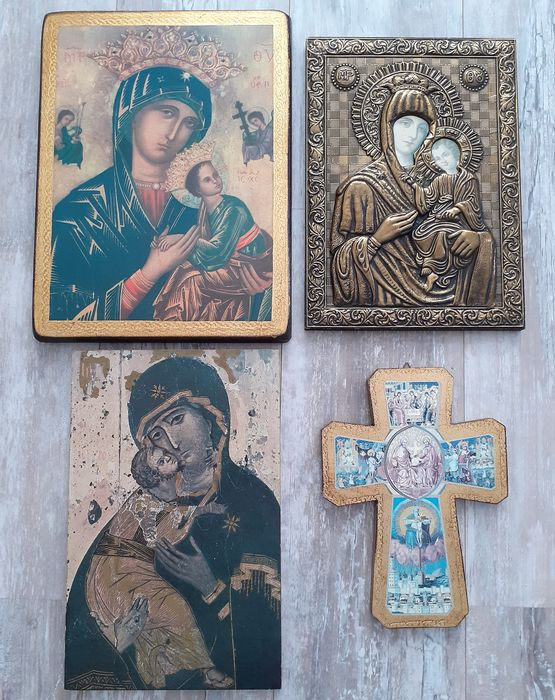 4x Icons - 1 x Russian relief icon and 3x Byzantine Icons on wood - Replika - Maria with child - - Wood and copper