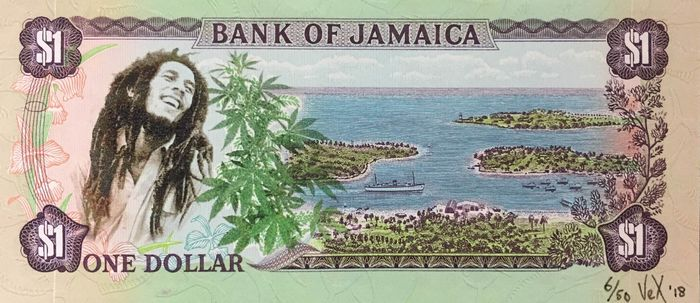 VEX - Bank of Jamaica $1: Bob Marley loves Marijuana