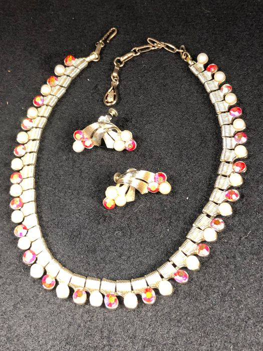 Gold-plated - Coro necklace earrings set pearl and crystal