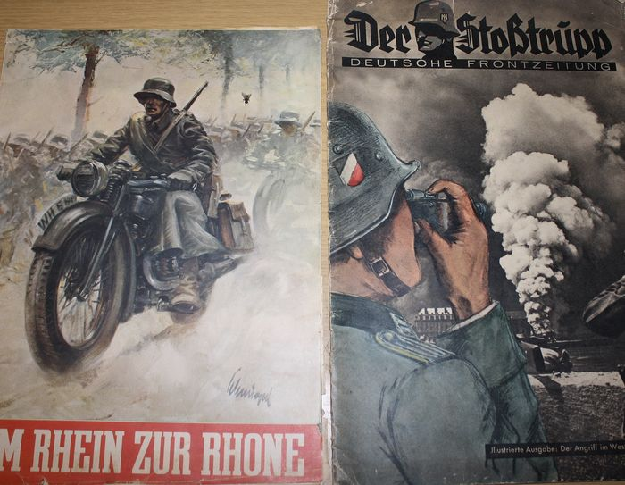 Germany - 2 front-page newspapers and 4 Western Front magazines with countless pictures - 1940
