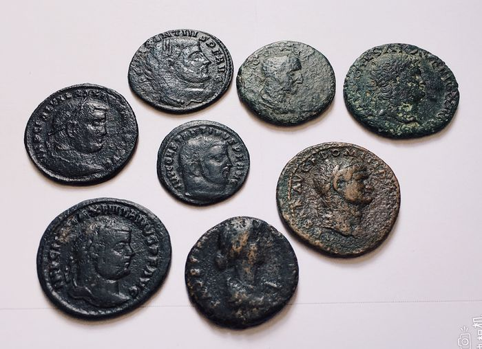 Roman Republic - Lot comprising 8 AE coins, incl.: As, Nero (AD 54-68) / Domitian (AD 81-96) / As, Faustina II (Augusta, AD 147-175)