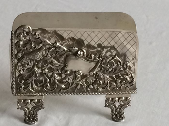 VERY RARE Portuguese SILVER Card Holder Wild Boar II (1887-1937) - Silver - Portugal - Late 19th century