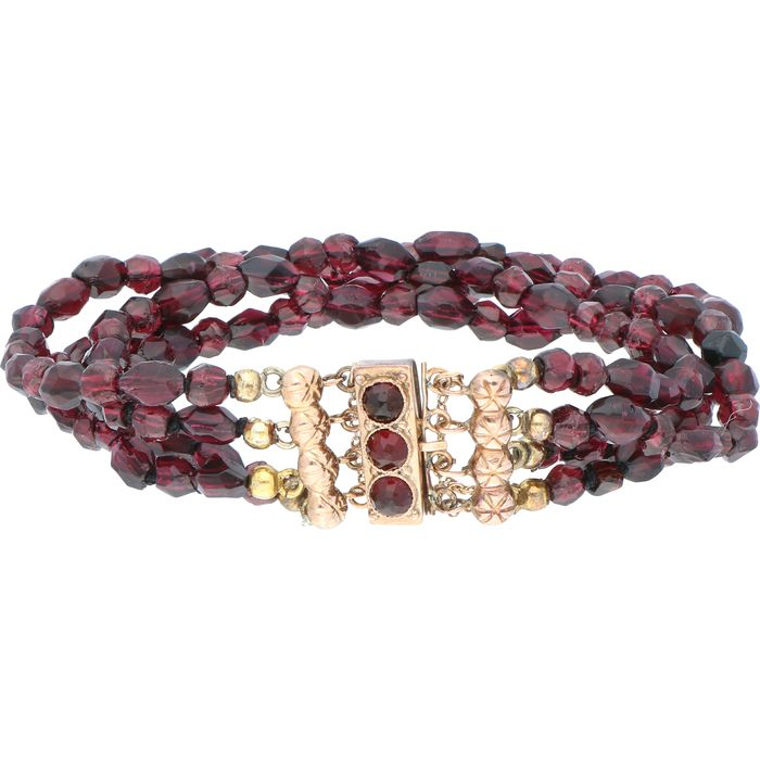 14 kt. Yellow gold - Bracelet Garnet