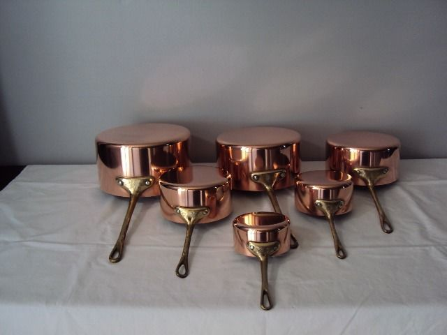 Beautiful batch of six tinned pots with bronze handle - Copper