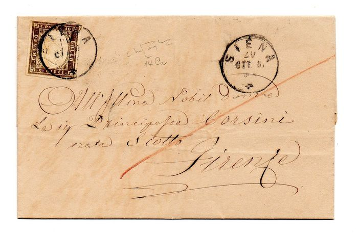 Sardinië 1861 - 10 cents dark olive grey (14Ca), letter from Siena to Florence - Sassone N. 14Ca