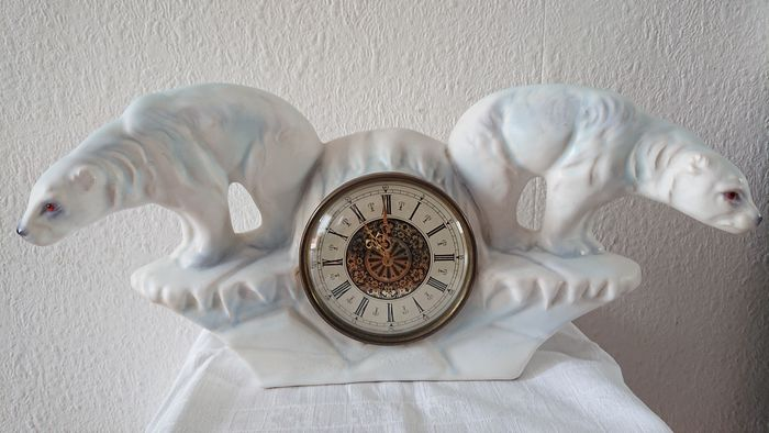 Jema Holland - Large mantle clock with 2 polar bears - Earthenware