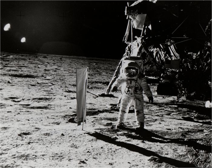 NASA - Apollo 11 - AS11-40-5873 (20 July 1969) - Buzz Aldrin on lunar surface near Lunar Module.
