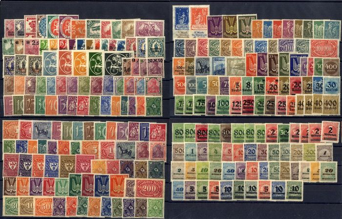 """German Empire 1919/1923 - Inflation period (""""Infla""""), MNH, complete - 105-337 A+B **"""